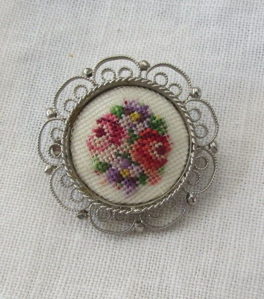Vintage Petit Point Needlework Tapestry Brooch by vintagecornucopia.