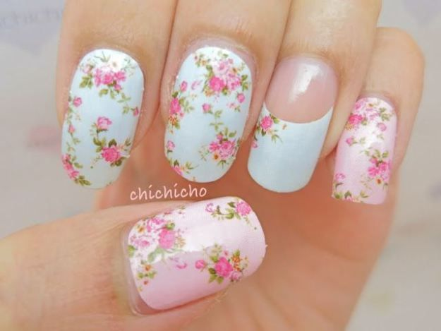 Summer 2014 Floral pink and white nailart nails