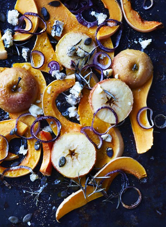 roasted butternut squash with apple, blue cheese, honey & pumpkin seeds.