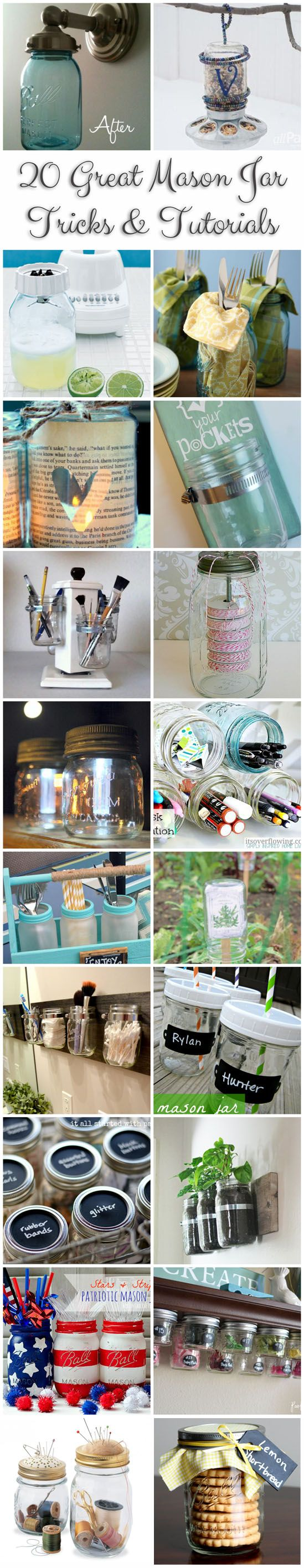 20 Mason Jar Tips & Tutorials