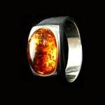 A handmade LotusMoon Amber ring $93
