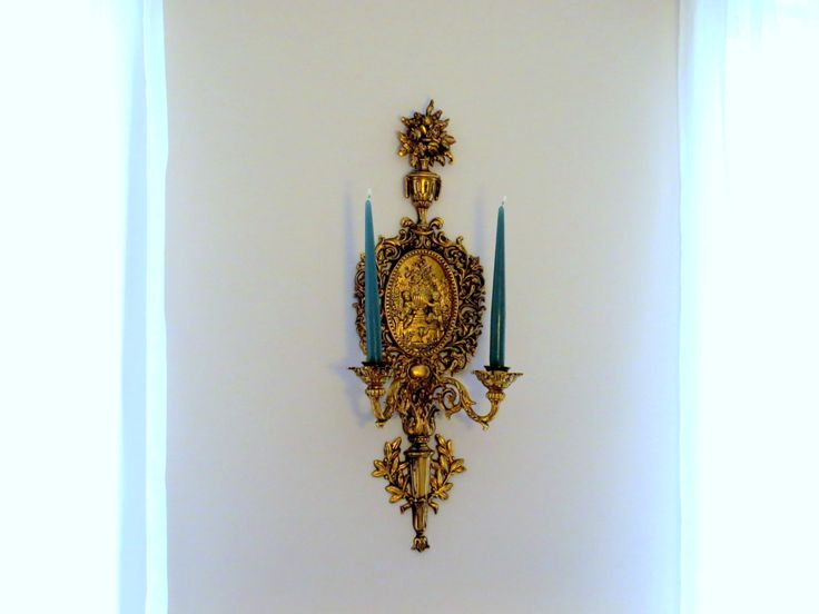 Large ornate sconce, vintage gilded wall sconce, cherub candle holder, angel…