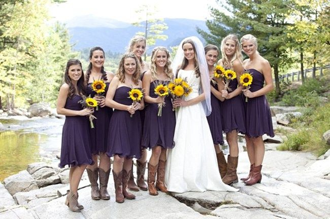 Fall Mountain Wedding in Jackson NH with Purple and Yellow Details