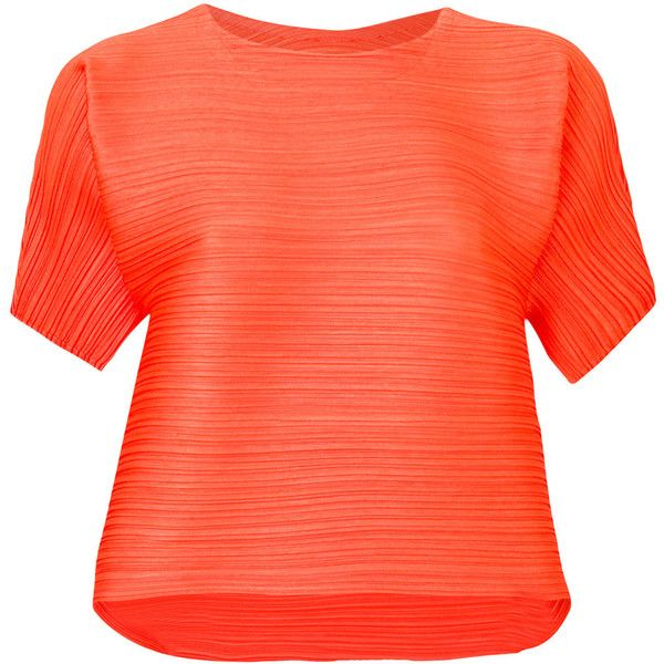 Pleats Please By Issey Miyake creased blouse ($320) ❤ liked on Polyvore featuring tops, blouses, orange, red top, short-sleeve blouse, pleats please by issey miyake, orange top and round neck blouse