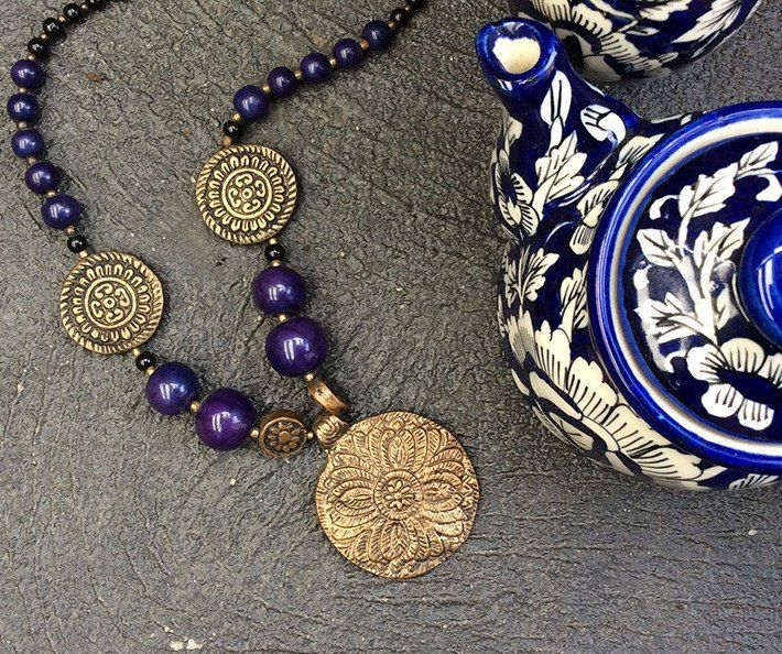 Indigo Antique Gold Beaded Necklace