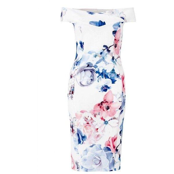 Quiz Cream blue and pink floral print bardot bodycon dress via Polyvore featuring dresses, bodycon dress, floral dresses, blue dress, pink dress and white dress