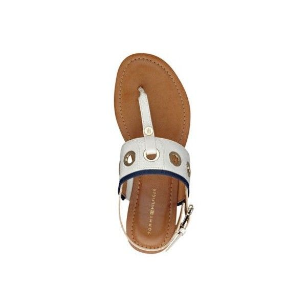 Tommy Hilfiger Lerry Flat Sandals ❤ liked on Polyvore featuring shoes, sandals, t bar shoes, metallic sandals, t strap flat shoes, t bar flat shoes and t strap shoes