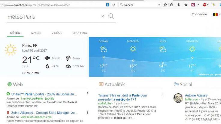 Netatmo affiche la météo sur Qwant.