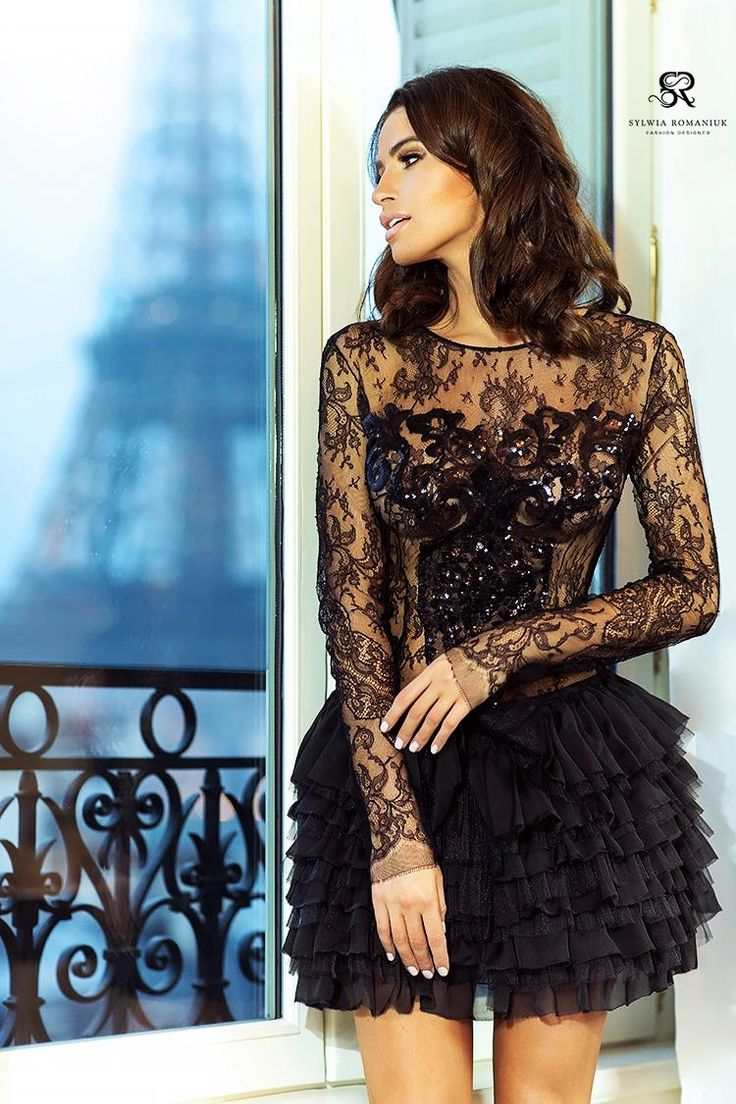 Sylwia Romaniuk  Fashion Designer   Black mini dress  #lace #model #fashion