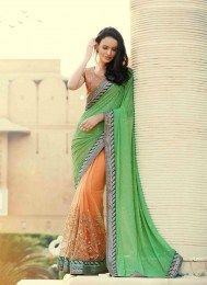 Georgette, Net Fabric Green Color Designer Party Wear Sari With Ravishing Embroidery Work