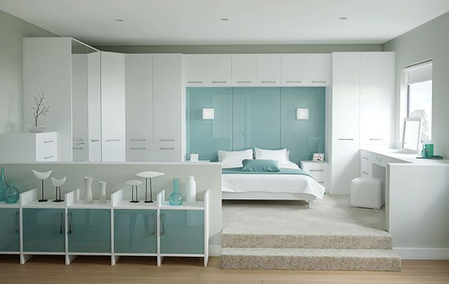 Academy Rococo bedroom fitted furniture in White. Available in many other colours. Can be used in almost any room in the house.