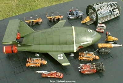 The mighty Thunderbird 2 and assorted transport vehicles.