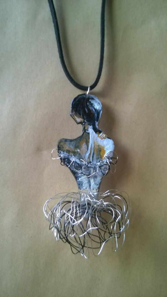 Hand Painted Necklace Pendant Art Wire Painted by PeculiarBoutique