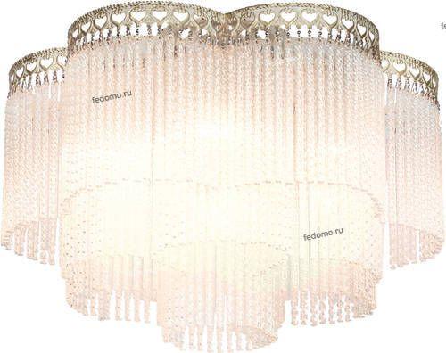 17160 1632-6U Люстра потолочная Favourite Barhan, 6 ламп, слоновая кость с золотом и прозрачным