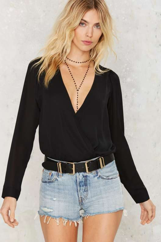 Sheers for Fears Plunging Bodysuit