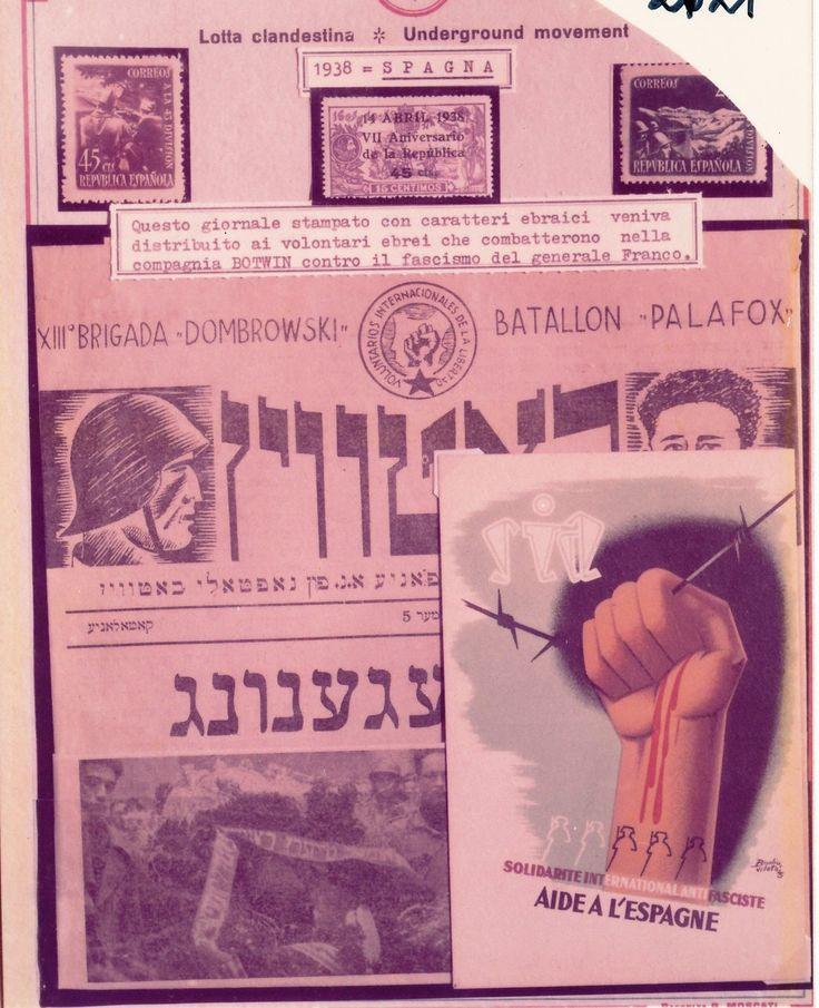 """Mostra documentaria-filatelica, Genova, 1975. Giornale di lotta clandestina indirizzato ai volontari ebrei che parteciparono alla lotta clandestina nella compagnia """"Botwin"""" contro il fascismo spagnolo di Francisco Franco."""
