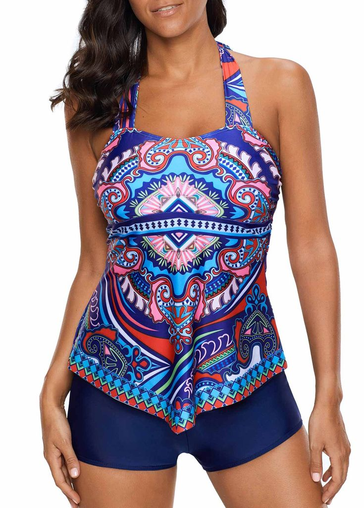 Printed Halter Neck Blue Tankini Top and Shorts on sale only US$29.11 now, buy cheap Printed Halter Neck Blue Tankini Top and Shorts at liligal.com