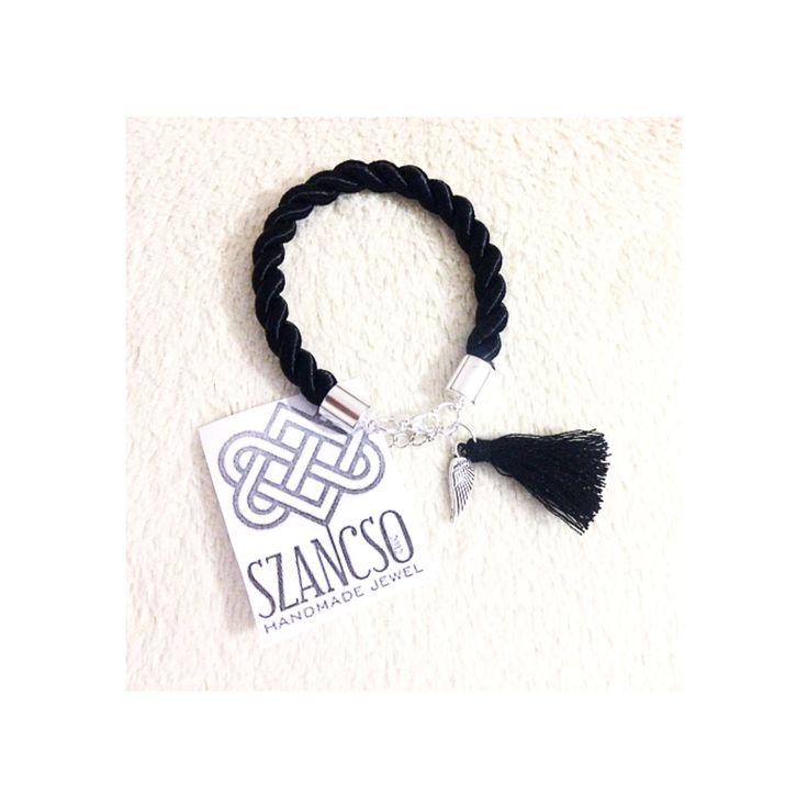 Black angel wings bracelet with tassel
