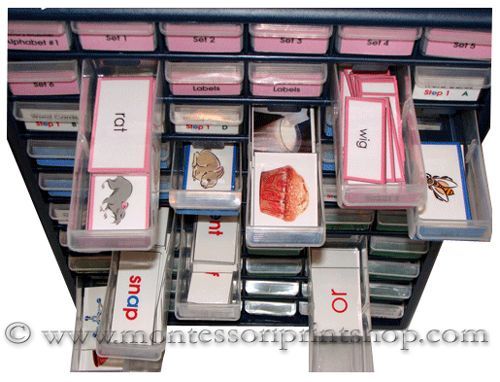 The drawers easily slide out to reveal the Pink Series Language cards.