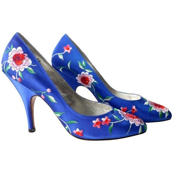 Preowned Norma Kamali Vintage Blue Satin Embroidered Floral Pumps ($295) ❤ liked on Polyvore featuring shoes, pumps, floral print pumps, blue satin pumps, blue satin shoes, vintage shoes and blue floral pumps