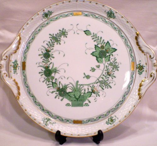 HEREND - ROUND SERVING PLATTER - INDIAN BASKET 315/FV - FLEURS DES INDES VERTES
