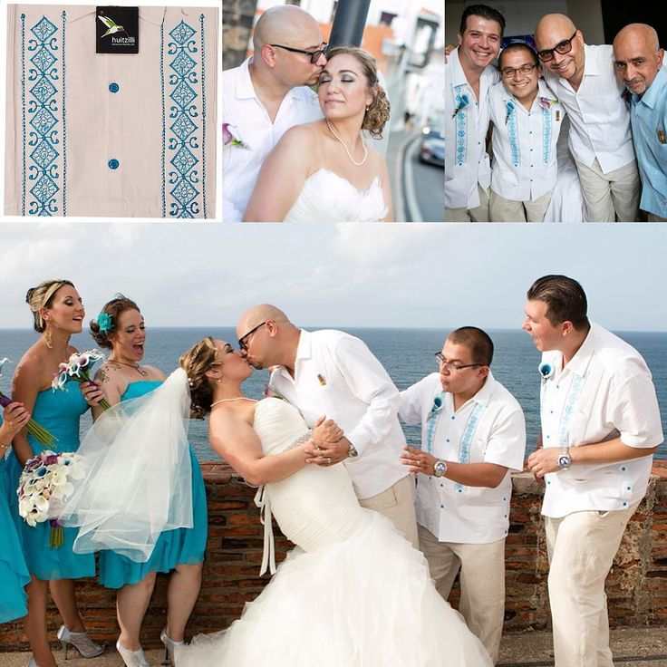 Guayabera wedding In San Juan, Puerto Rico. We did a custom Turquoise Embroidery to match the bridesmaids dresses! #guayabera #destinationwedding #beachwedding #guayaberanyc #huitzilli #groom #fatherofthebride #mexicanweddingshirt #cigarshirt #chacabana #guayabel #puertorico