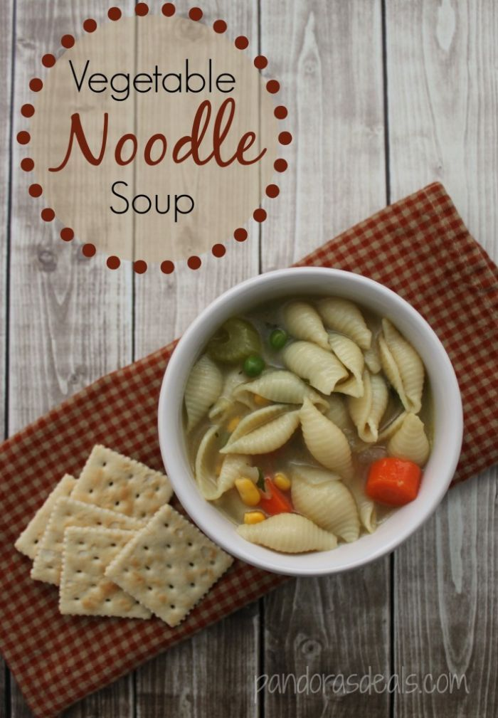 This Easy Homemade Vegetable Noodle Soup recipe is one of my favorites when it's cold out or someone is feeling under the weather. The kids love it, too, and take the leftovers in their thermoses for lunch.