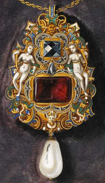 Oil on canvas by Hans Mielich depicting one of the jewels in the possession of Duchess Anna von Bayern. Painted in between 1552-1555.