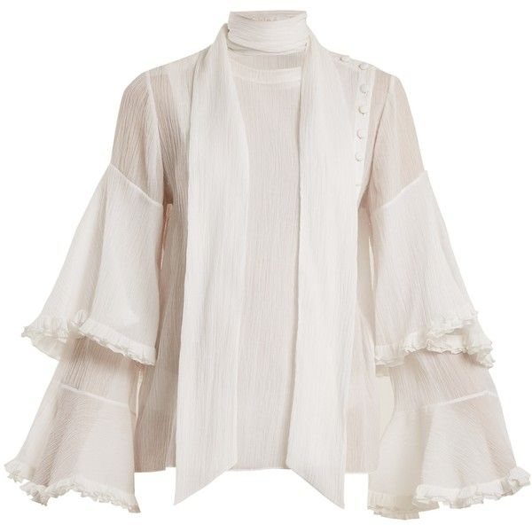 Chloé Bell-sleeved tie-neck cotton-blend gauze blouse ($1,650) ❤ liked on Polyvore featuring tops, blouses, white, white button blouse, ruffle blouse, tie neck tie, bell sleeve blouse and white frilly blouse
