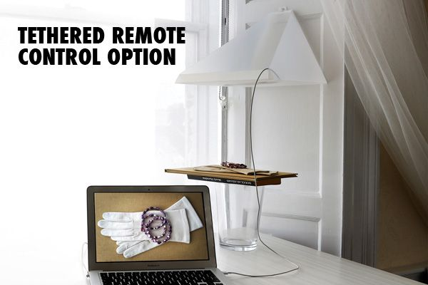 You can use the Rostrum Camera stand with laptop as remote and then see immediately on computer.