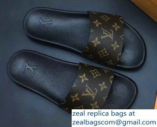 5d92c27fbcef2 Louis Vuitton Waterfront Mules Men\'s Slipper Sandals Monogram Canvas  1A3PSB 2018 Slipper Sandals