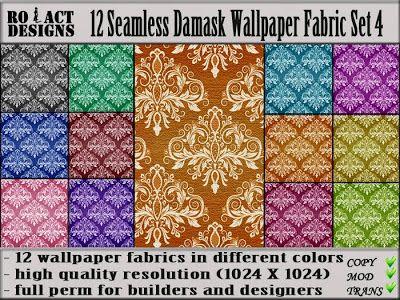 Ro!Act Designs 12 Damask Wallpaper Fabric Set 4