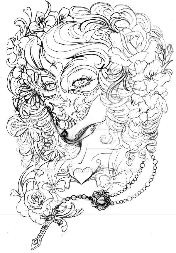 http://metacharis.deviantart.com/art/Day-of-the-Dead-Tattoo-472428500