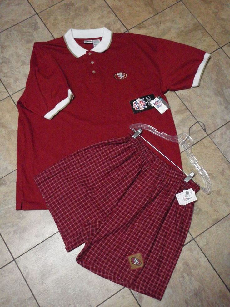 New NFL XL Shirt XL & Shorts L Mens PJs SF The Edge Game Day San Francisco 49ERs #TheEdgeOfficialNFLClothing #PajamaSetsPJsSleepwear