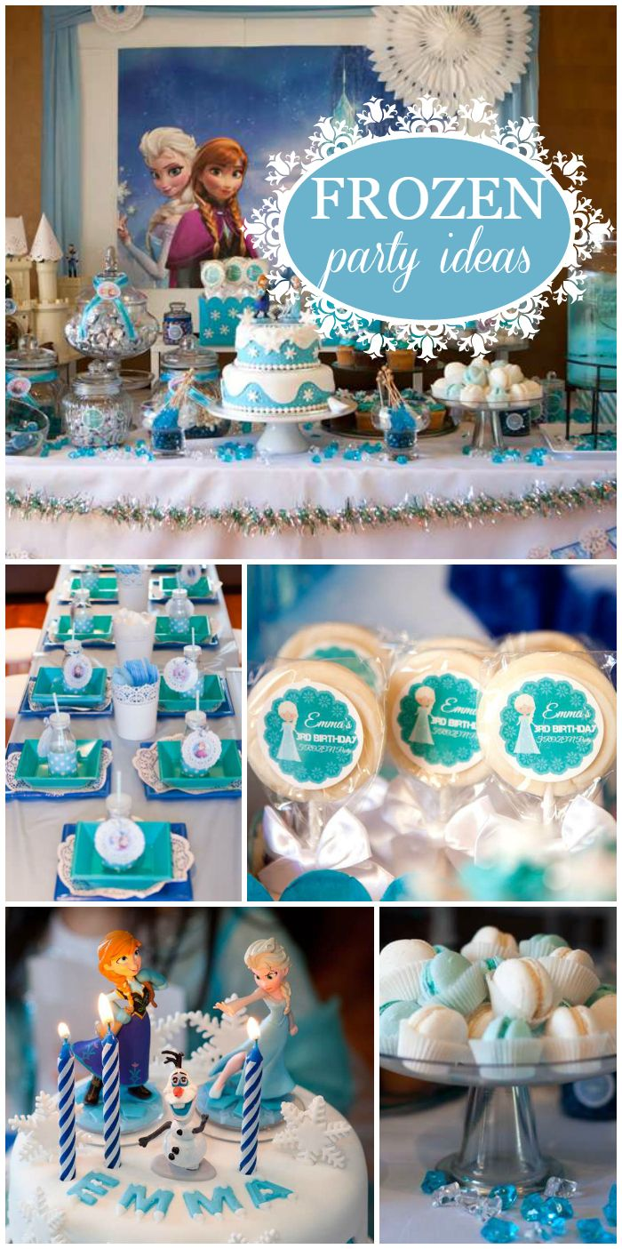 A Frozen girl birthday party with a lavish candy buffet and party table and fun activities for the guests! See more party planning ideas at CatchMyParty.com!