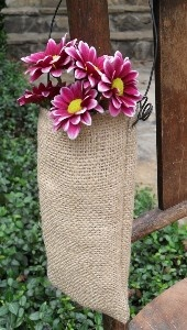 10 Burlap Wedding Aisle DecorationChair Pew Flower Holder Basket or