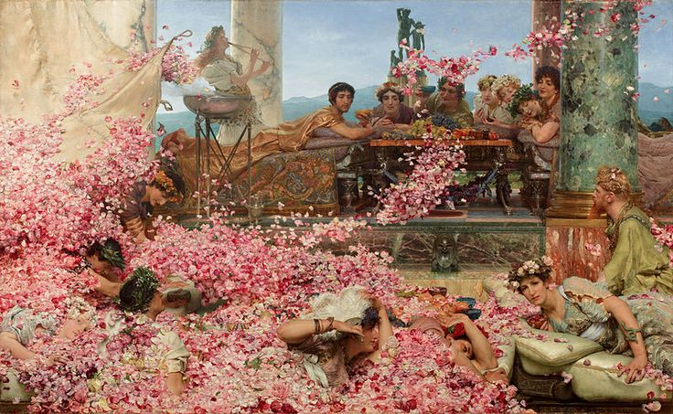 The Roses of Heliogabalus, 1888 by Sir Lawrence Alma-Tadema. Romanticism. genre painting. Private Collection