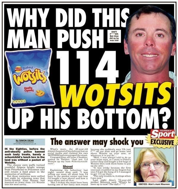 "This impressive cheesy feat. | 24 Headlines That Prove The ""Sunday Sport"" Is Britain's Best Newspaper"