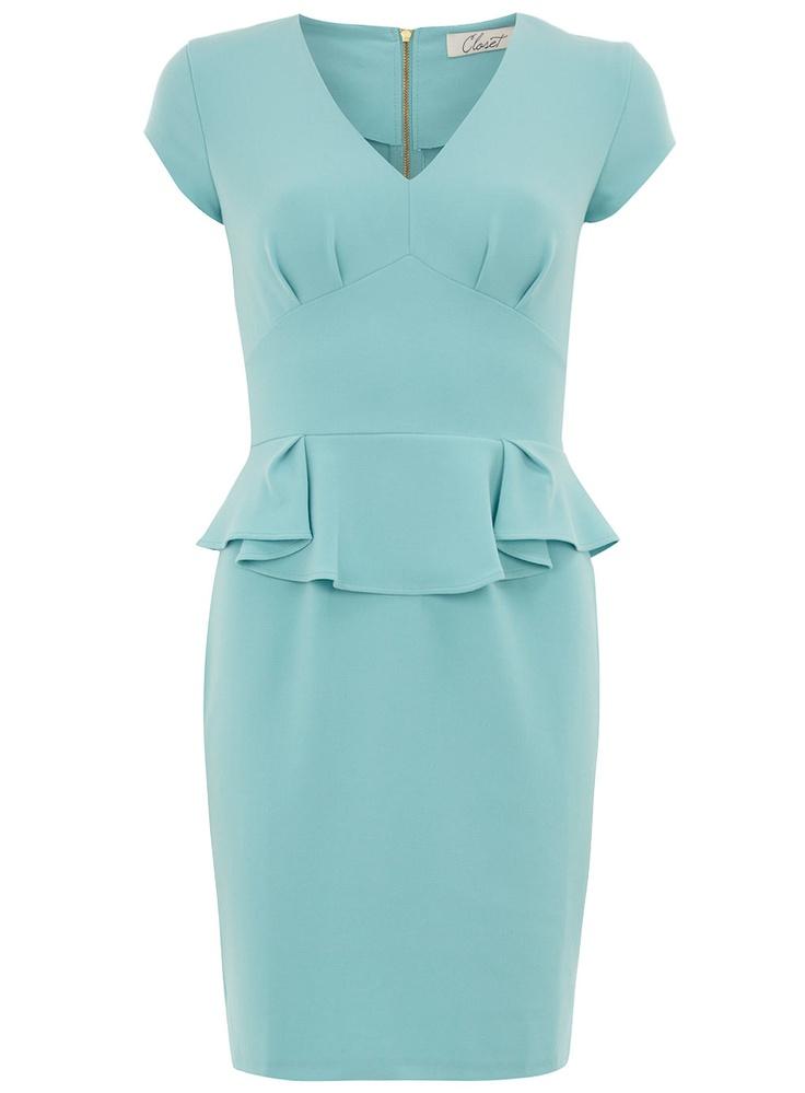 Aqua V neck peplum dress - View All - Dresses - Dorothy Perkins United States