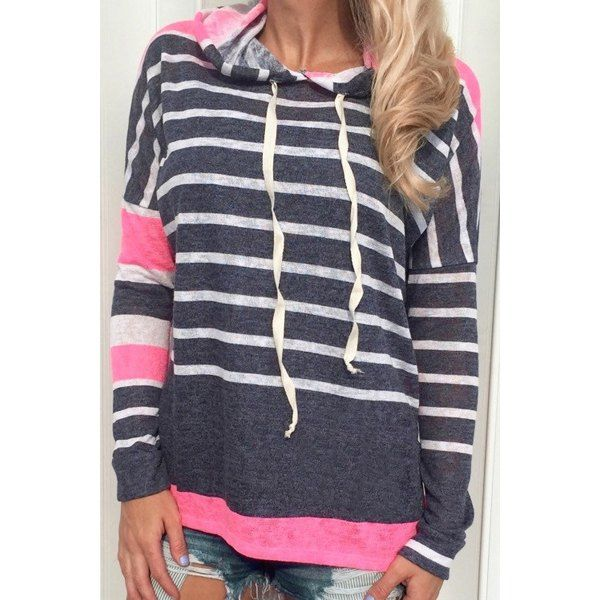 Wholesale Casual Style Hooded Long Sleeve Black and White Stripe Women's Colorful Hoodie Only $6.96 Drop Shipping | TrendsGal.com