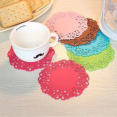 Hollow Out Pattern Silicone Cup Mat (1 PCS) – USD $ 1.29