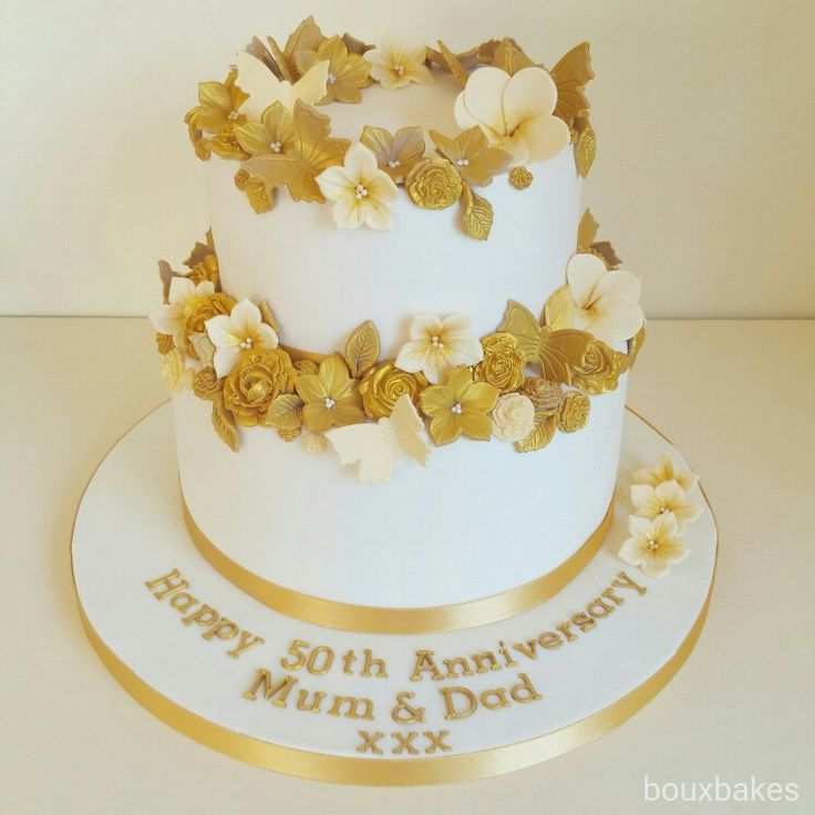 2 tiered White and Gold 50th Anniversary cake