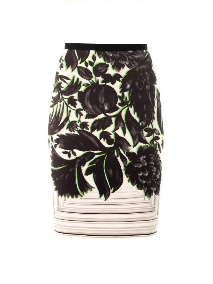 Botanical prints are a perfect way to herald in the new season. This crepe pencil skirt from Peter Pilotto features a 3D-effect canopy print and finishes on the knee. Wear with a simple white tee, or the label's peplum blouse for a more directional spin.