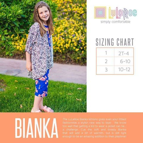 The LuLaRoe Bianka kimono gives even your littlest fashionistas a stylish new way to layer. We know too well that getting a kid to wear a jacket can be… a challenge. Cue the soft and breezy Bianka that will add a bit of warmth, but is still light enough to be an amazing addition to their playtime!