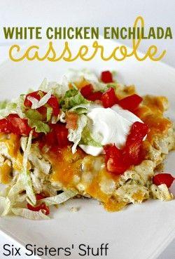 White Chicken Enchilada Casserole- so much easier than rolling enchiladas! SixSistersStuff.com