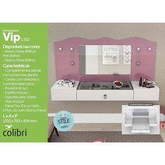 Compre Penteadeira Suspensa Vip - Colibri Móveis Branco neve/pink | Lojas Marabraz