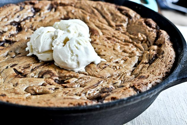 Dark Chocolate Chunk Skillet Cookie ... made and baked in same pan! Tasty Kitchen Blog