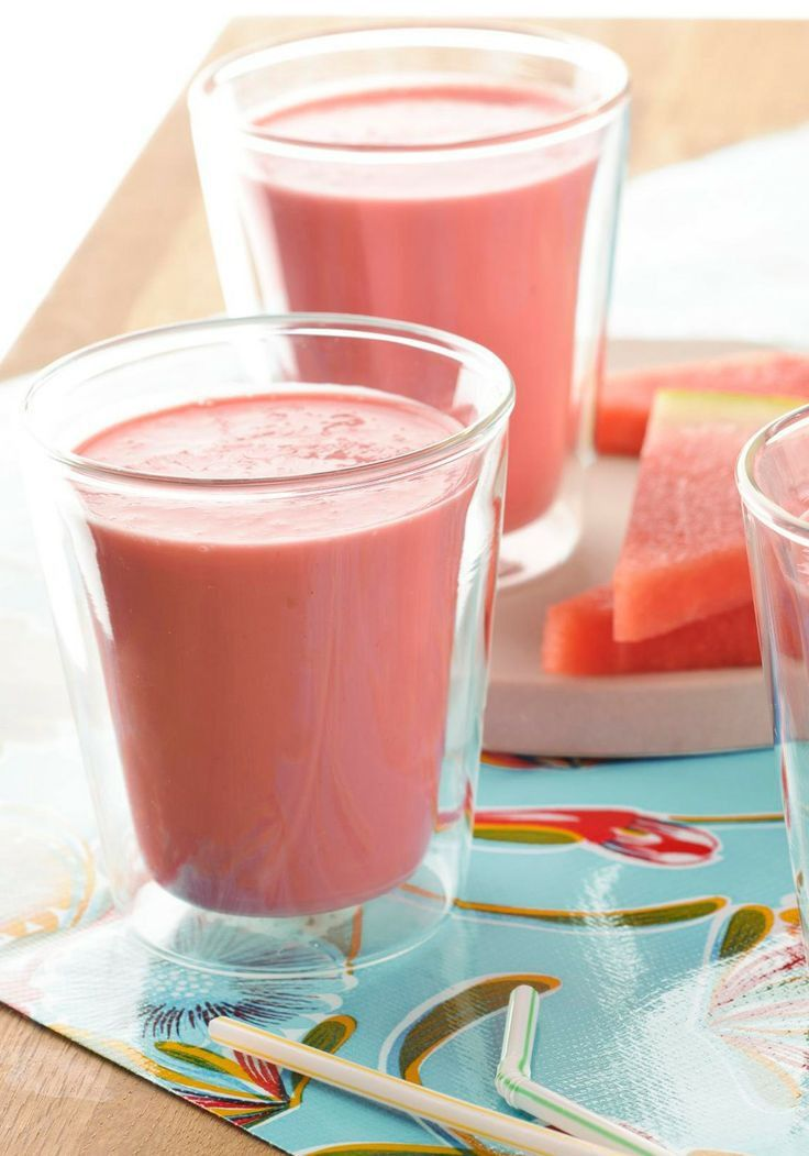 Watermelon Smoothie -- Fat-free Greek-style yogurt and chopped watermelon are sweetened with strawberry-flavored drink mix to make this yummy, healthy living smoothie recipe.