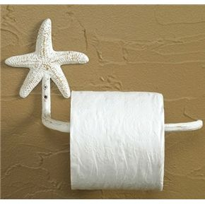Starfish Toilet Paper Holder (White) nautical beach house bathroom decor