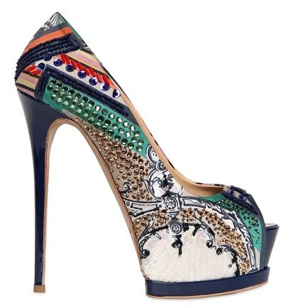 Gianmarco Lorenzi 150MM Embroidered Printed Satin Pumps